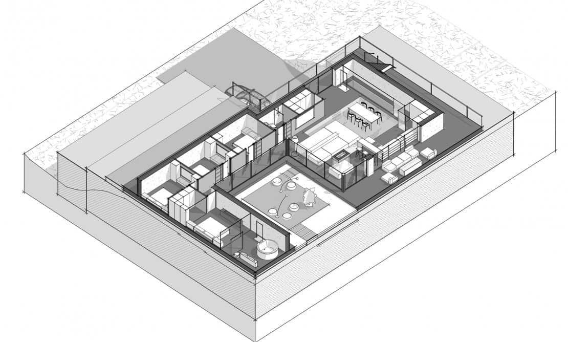 This is a 3d illustration of the aerial view of the first level of the house showcasing the various structures and areas like the kitchen and living areas.