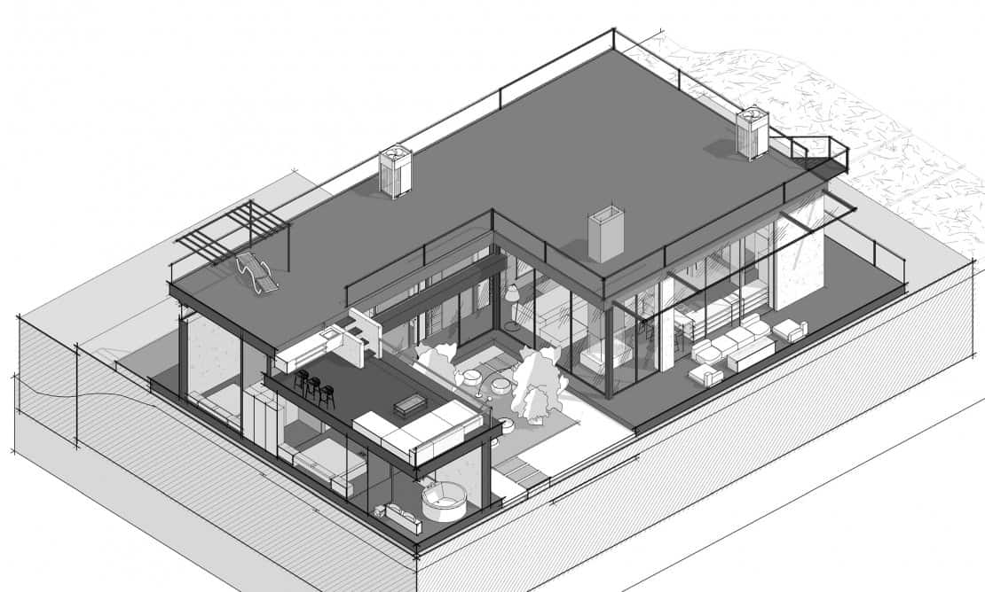 This aerial view illustration shows the glass walls of the ground level and the bar of the top level.