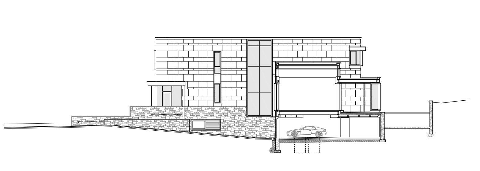 This is an illustration of the side elevation of the house showing the basement and the other floors.