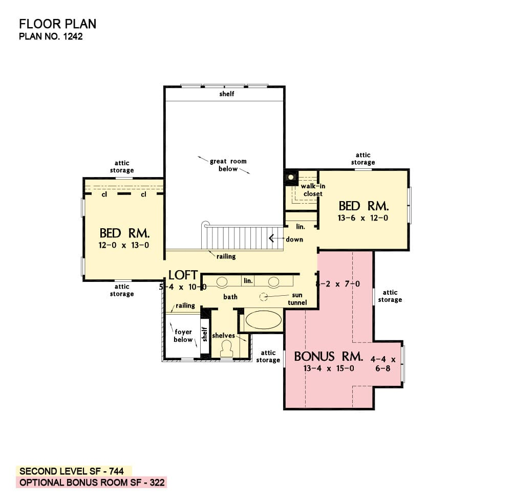 Second level floor plan with two bedrooms, a loft, bonus room, and a shared full bath topped with a sun tunnel.