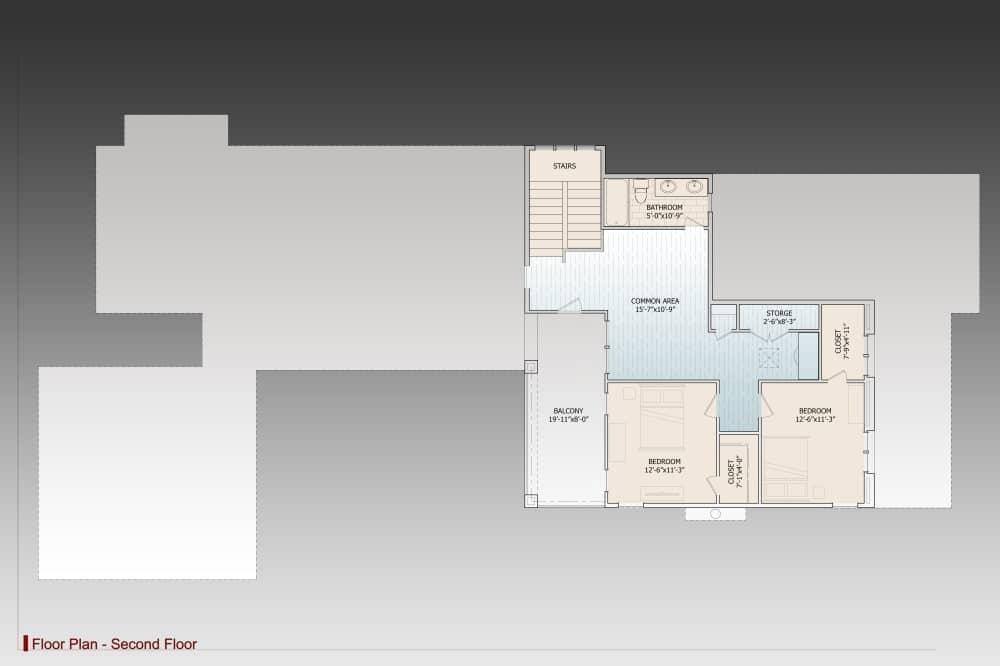 Second level floor plan with two bedrooms, a shared bath, and a common area that opens to the balcony.