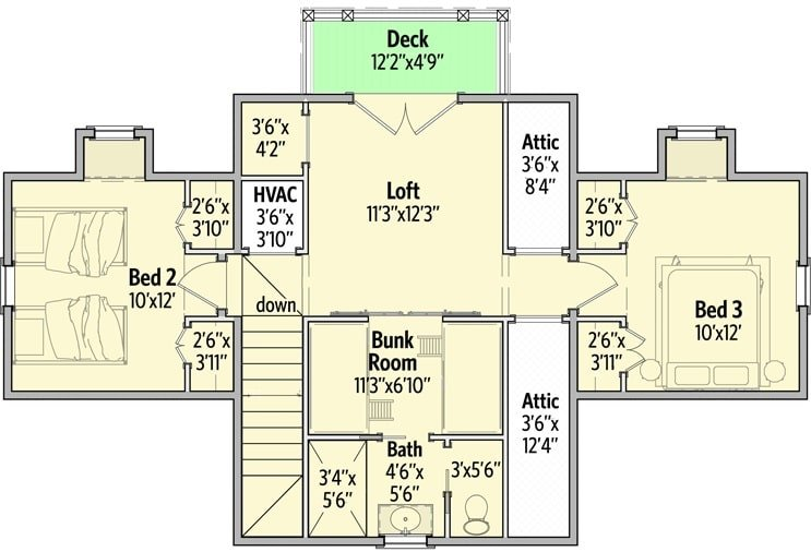 Second level floor plan with two bedrooms, a bunk room, and a huge loft with balcony.