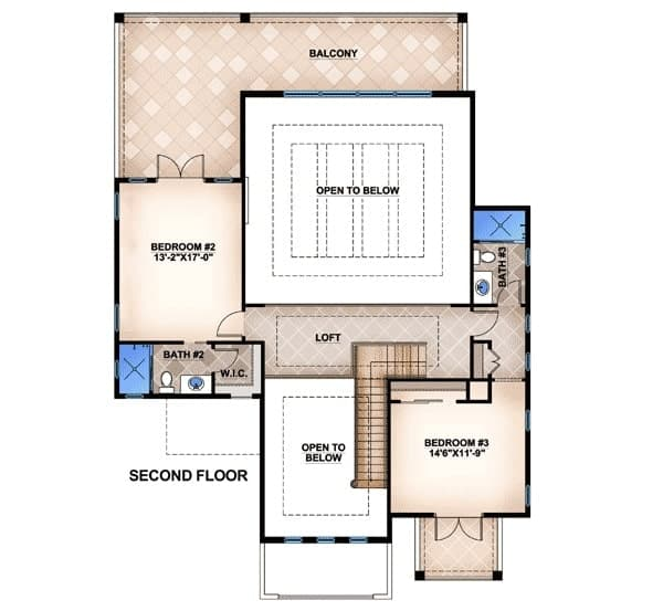 Second level floor plan with a loft and two bedrooms with balconies.