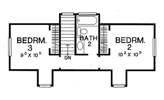 Second level floor plan with two bedrooms and a shared hall bath.