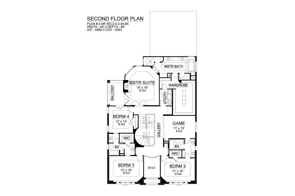 Second level floor plan with four bedrooms, a utility room, and a game room.