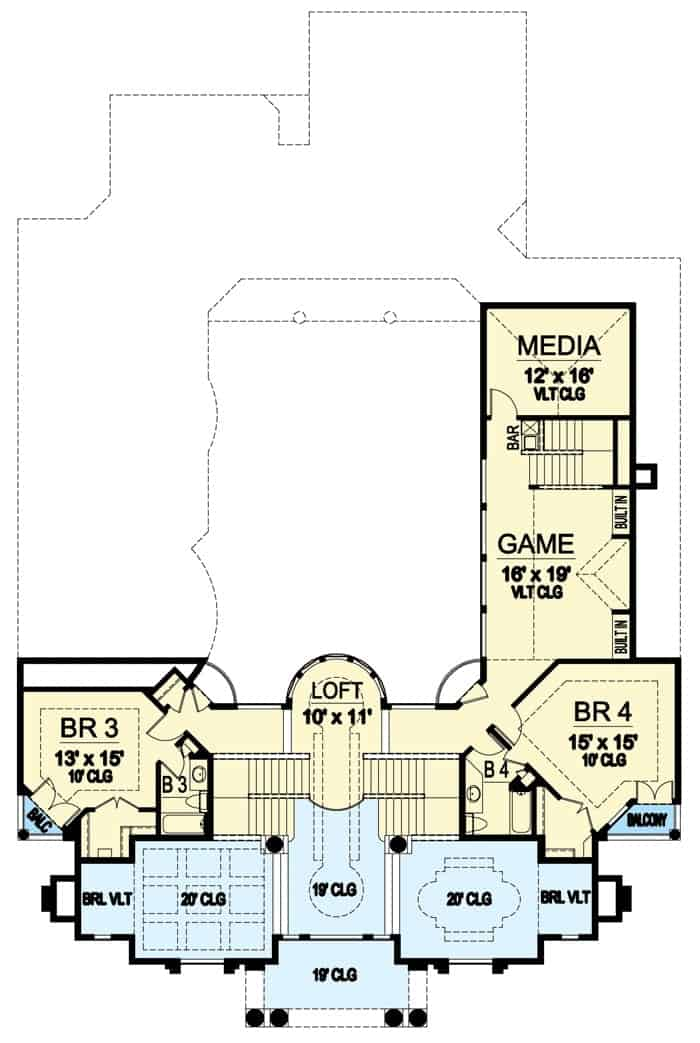 Second level floor plan with two bedrooms, a bayed loft, and a game room, and a media room.