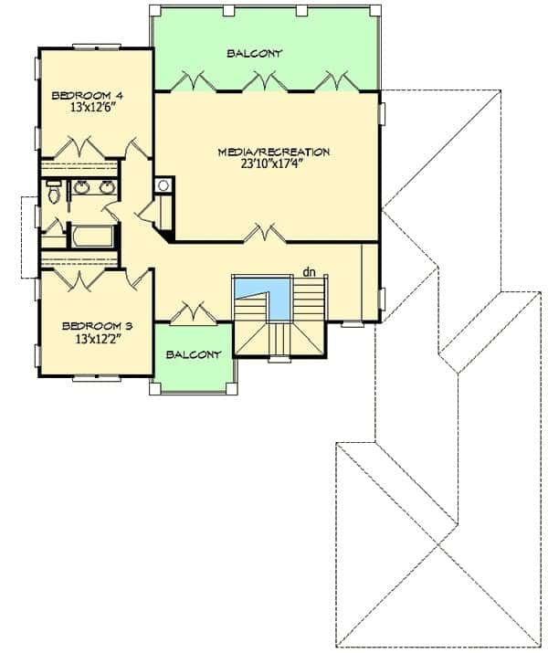Second level floor plan with two bedrooms, two balconies, and a large media/recreation room.