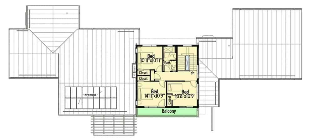 Second level floor plan with three bedrooms, a shared full bath, and a wide balcony.