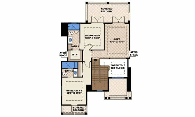 Second level floor plan with two bedrooms and a loft, all with access to the covered balconies.