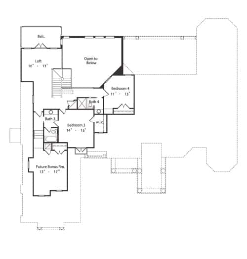 Second level floor plan with two bedrooms, a future bonus room, and a loft with a balcony.