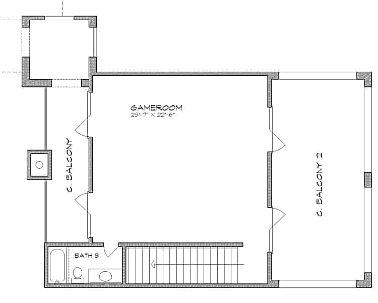 Second level floor plan with a full bathroom and a game room flanked by covered balconies.