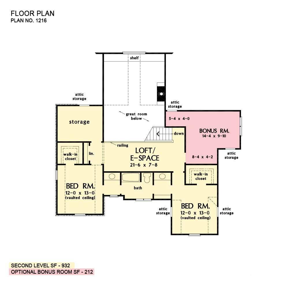 Second level floor plan with two bedrooms, a bonus room, loft/e-space, and sizable storage space.
