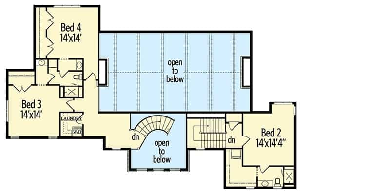 Second level floor plan with three bedrooms, two baths, and a laundry room.