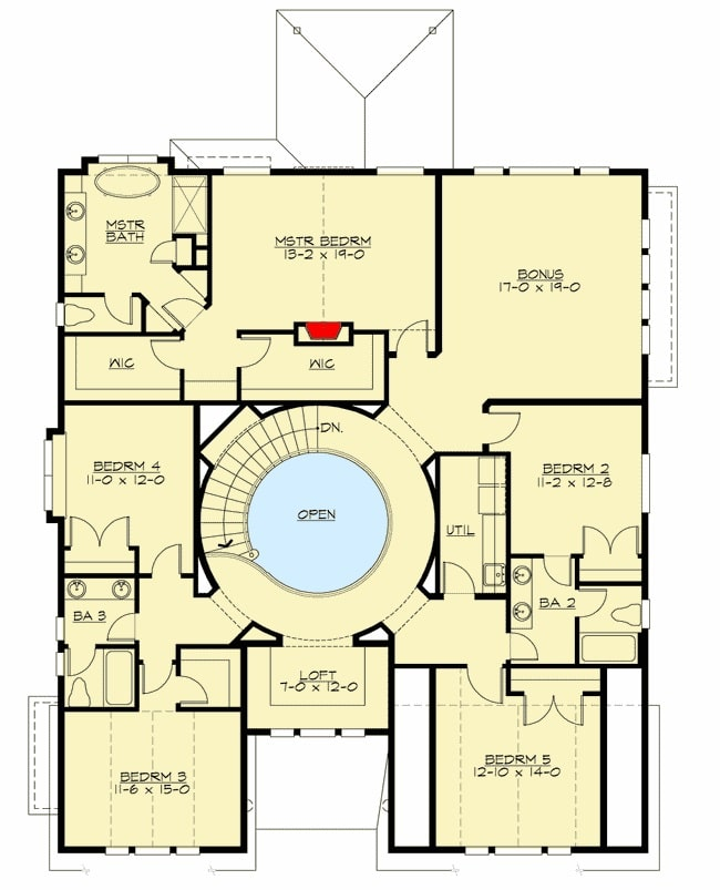 Second level floor plan with 5 bedrooms, a bonus room, and a reading loft.