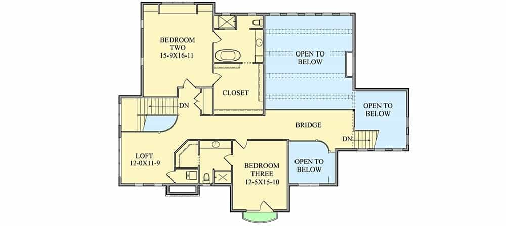 Second level floor plan with two bedrooms and an open loft.