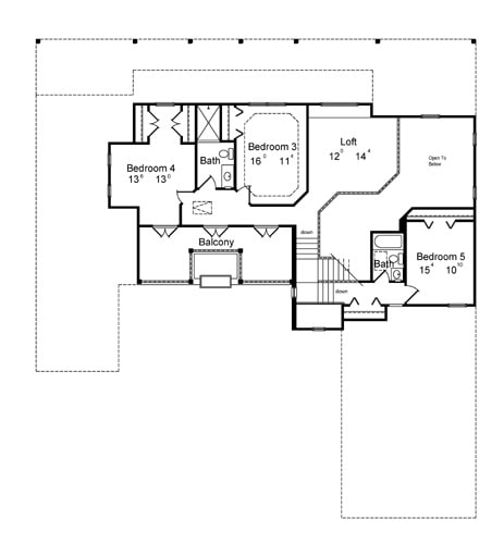 Second level floor plan with three bedrooms and a sizable loft.