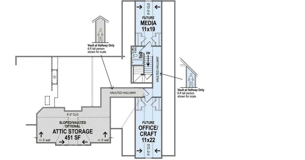 Second level floor plan with media room and office/craft.