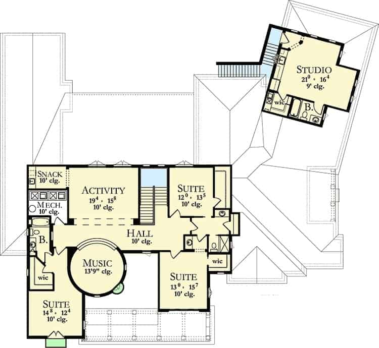 Second level floor plan with three bedrooms, a music room, an activity area, and a separate studio.