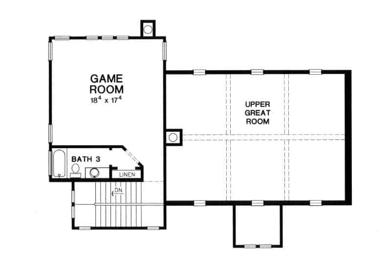 Second level floor plan with game room and a full bathroom.