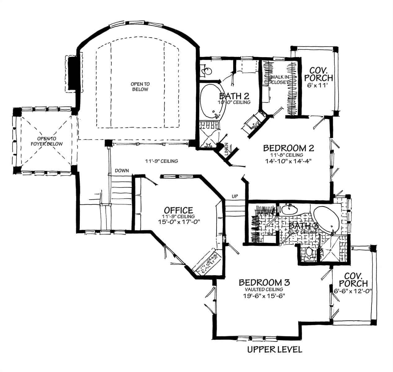 Second level floor plan with office and two more bedrooms, both with private balcony.