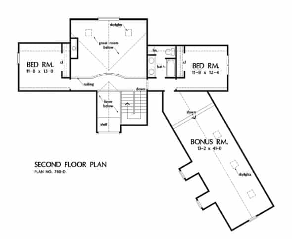 Second level floor plan with two bedrooms and a large bonus room over the garage.