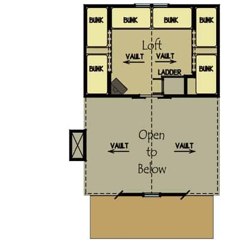 Second level floor plan with sleeping loft offering six bunk beds.