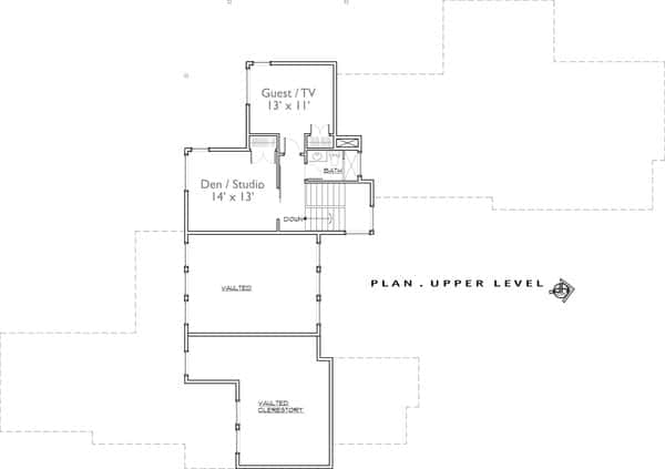 Second level floor plan with flexible spaces including a den/studio and a guest room/media room.