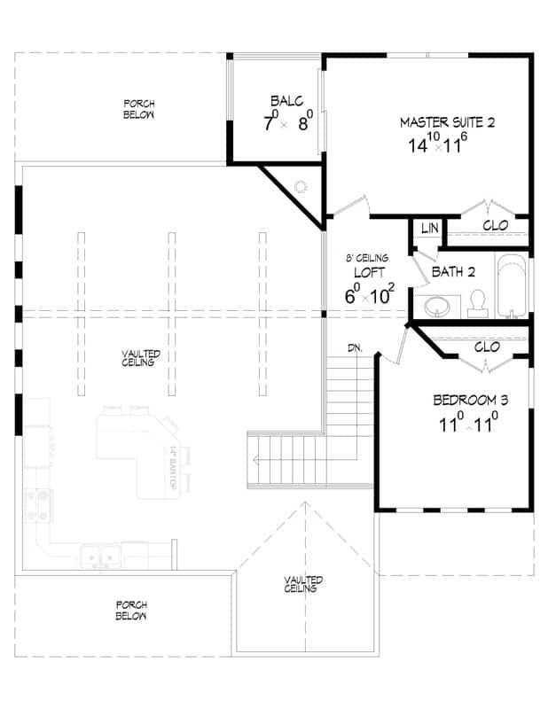 İki yatak odası ve balkonlu çatı katı içeren ikinci kat planı.