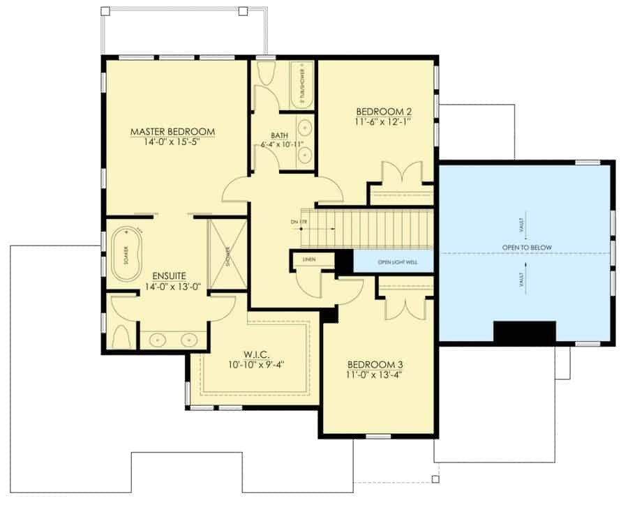 Second level floor plan with three bedrooms including the primary suite.