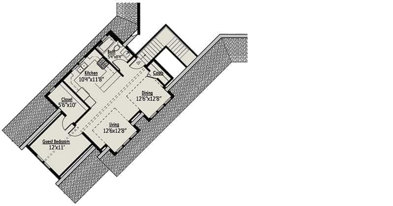 Second level floor plan with a guest bedroom, living room, dining area, kitchen, and a full bath.