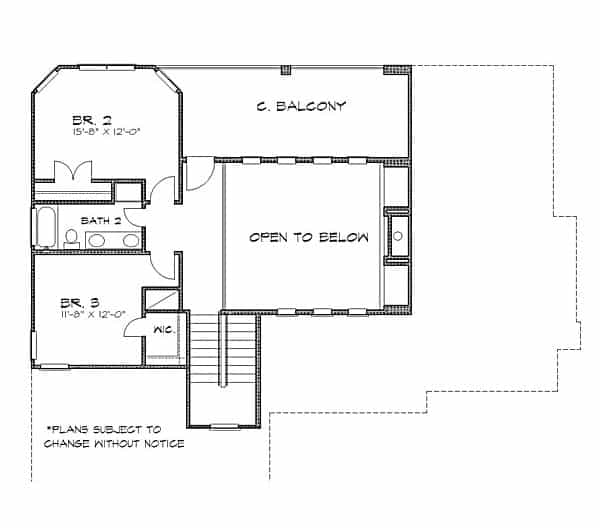 Second level floor plan with two bedrooms, a shared bath, and a wide balcony.