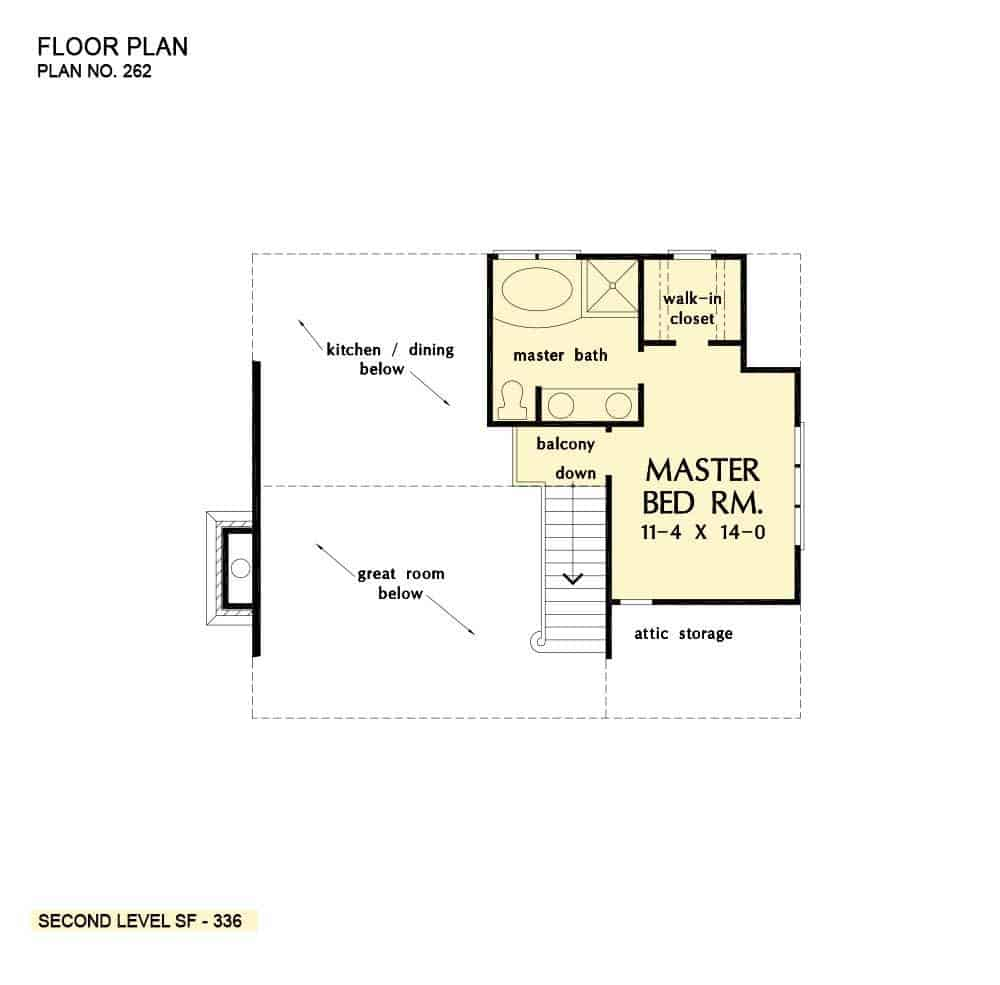 Second level floor plan with primary bedroom and a balcony overlooking down the kitchen and great room.
