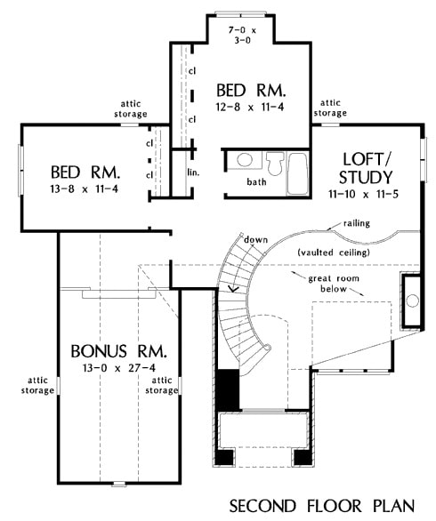 Second level floor plan with two more bedrooms, a loft/study, and a bonus room that sits above the garage.