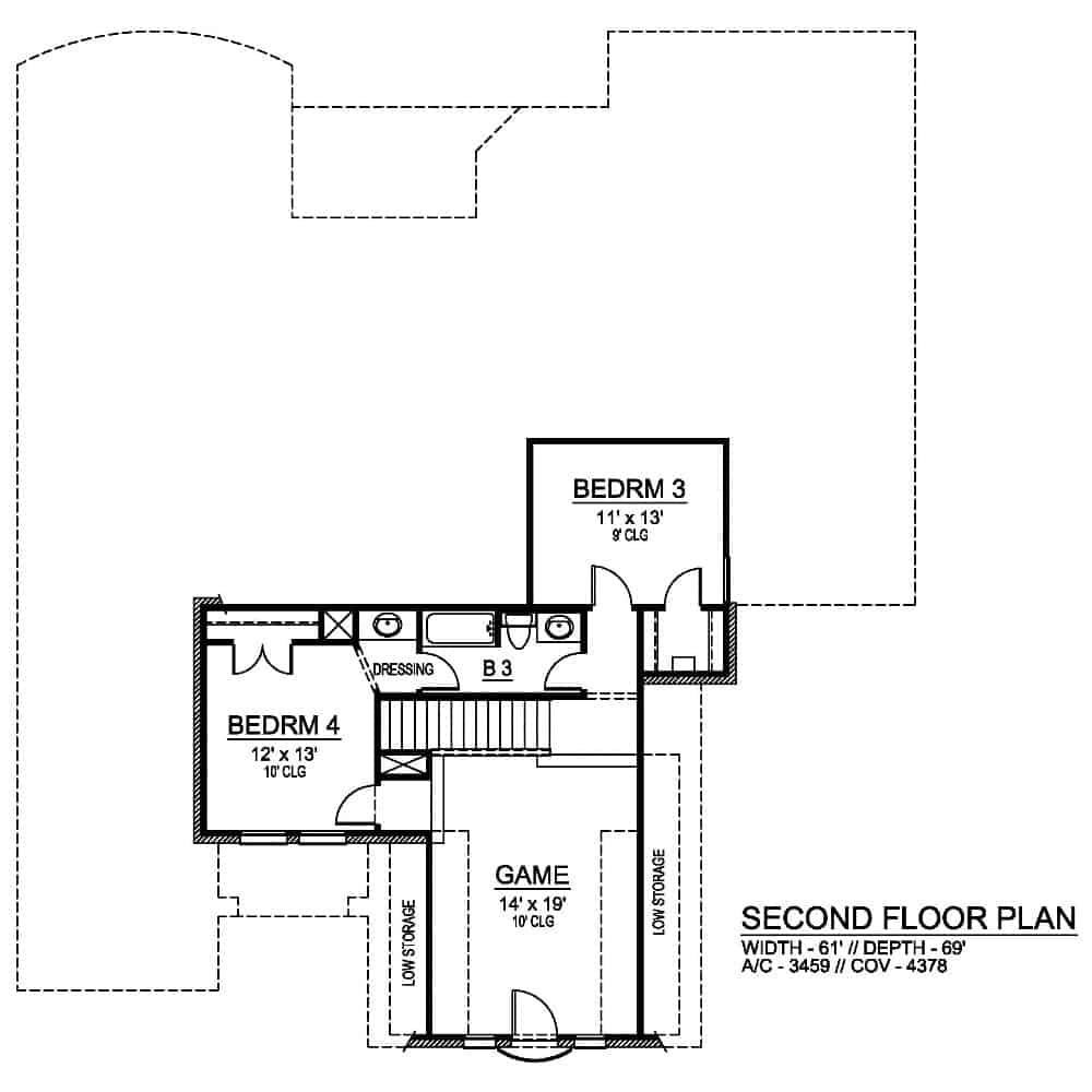 Second level floor plan with two bedrooms and a spacious game room.