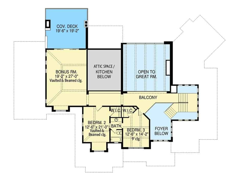 Second level floor plan with two bedrooms and a large bonus room with a private deck.