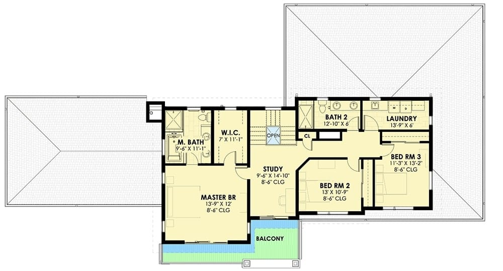 Second level floor plan with four bedrooms, laundry room, and a study loft that opens balcony to a balcony that's accessible by the primary suite as well.