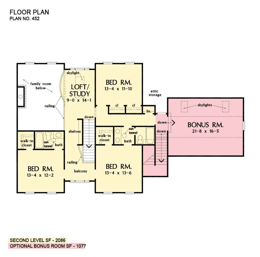 Second level floor plan with three bedrooms, a bonus room, and a versatile loft/study topped by skylights.