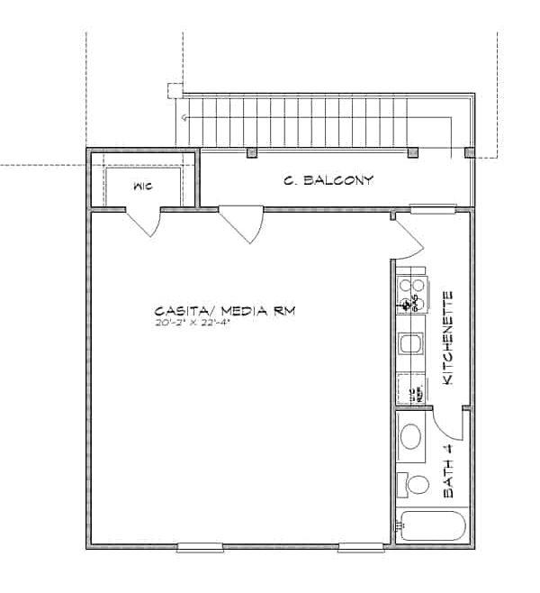 Second level floor plan above the detached garage with a casita/media room complete with a kitchenette, walk-in closet, bathroom, and a covered balcony.