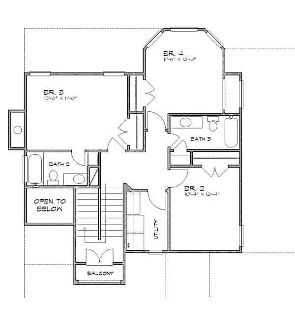 Second level floor plan with three bedrooms, a large utility room, and a small balcony.