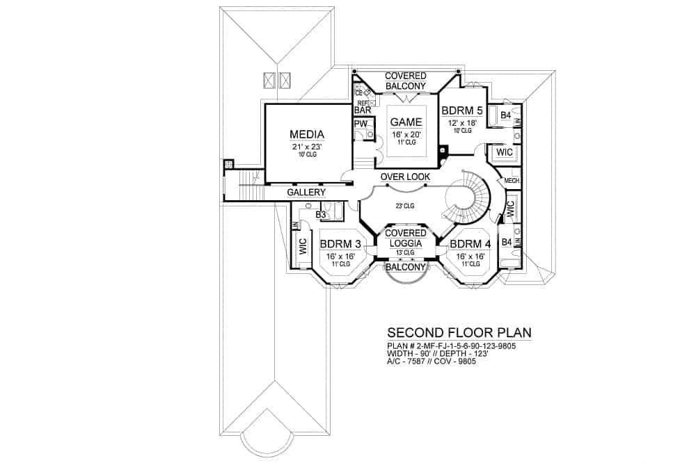 Second level floor plan with three bedrooms, media room, game room, and a covered loggia with a balcony.