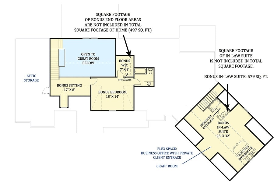 Second level floor plan with an additional bedroom suite, bonus sitting, and an in-law suite.