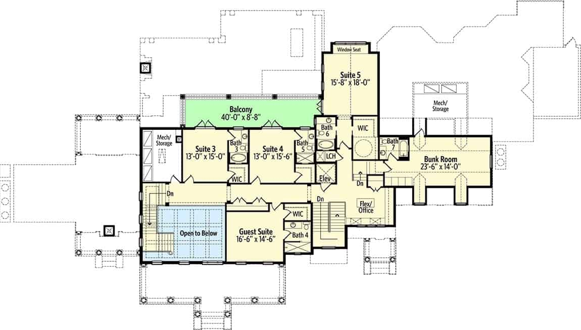 Second level floor plan with four bedrooms, an office, a bunk room, and a wide balcony.