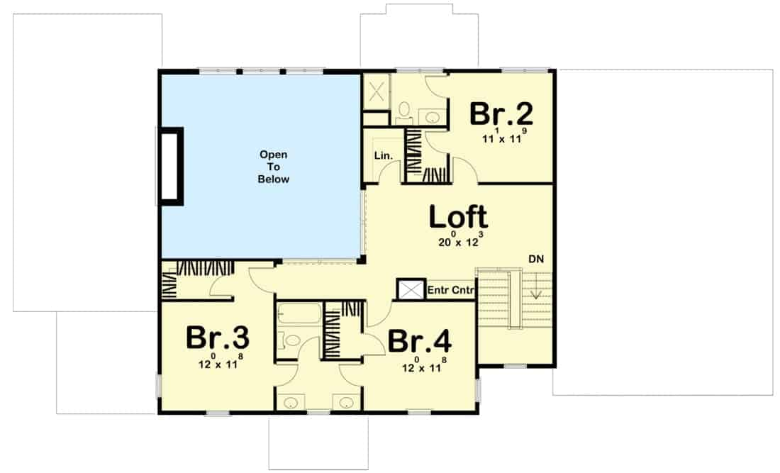 Second level floor plan with three bedrooms and a loft overlooking the great room below.