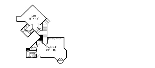 Second level floor plan with another bedroom and a spacious loft.