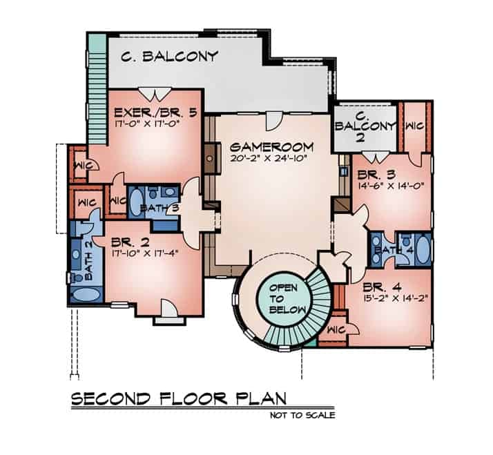 Second level floor plan with four bedrooms and a large game room that opens to the covered balcony.