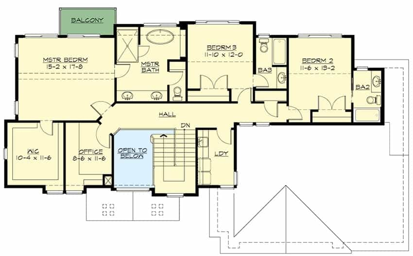 Second level floor plan with an office, laundry room, and three bedrooms including the primary suite with a private balcony.