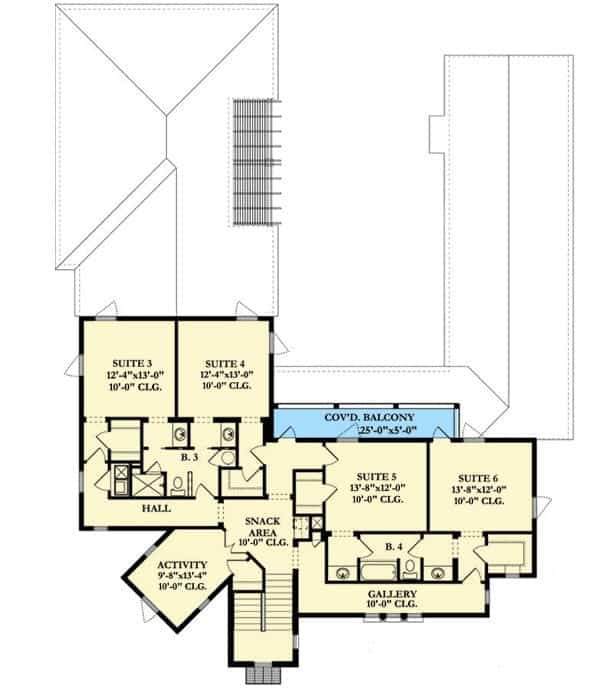 Second level floor plan with four bedrooms, activity room, snack area, and covered balcony.
