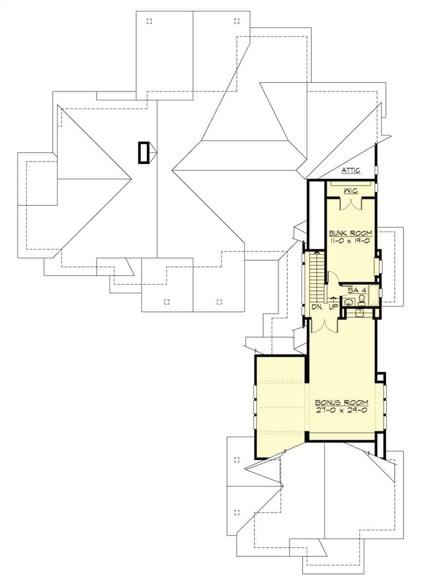 Second level floor plan with a massive bonus room and a bunk room.