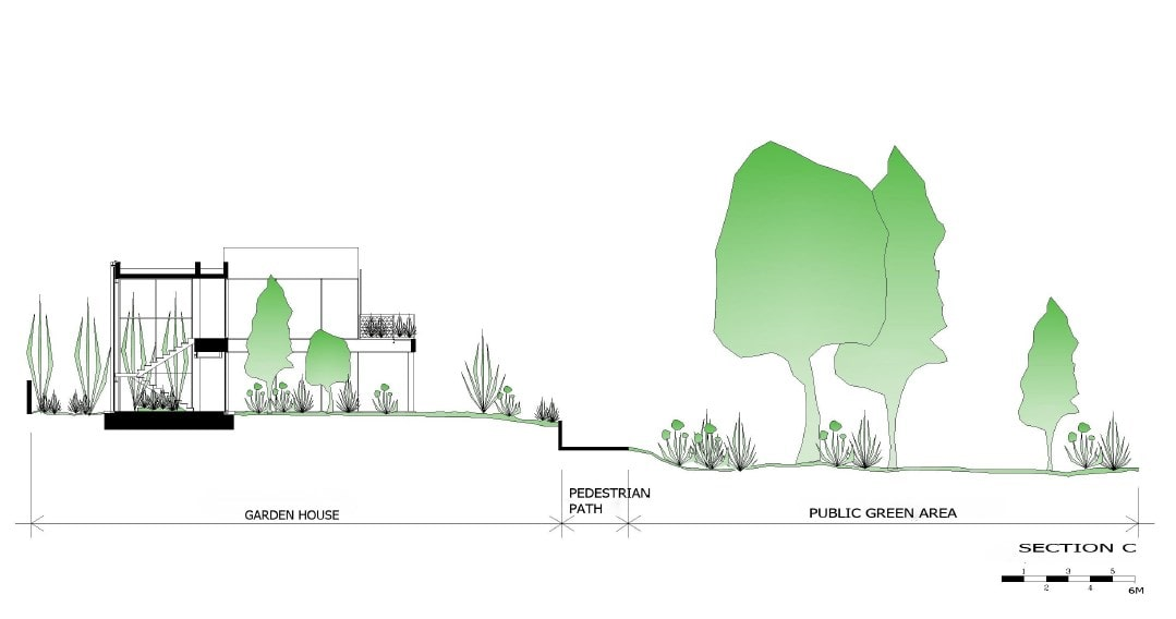 This is an illustration of the side elevation of the house along with the surrounding landscape.