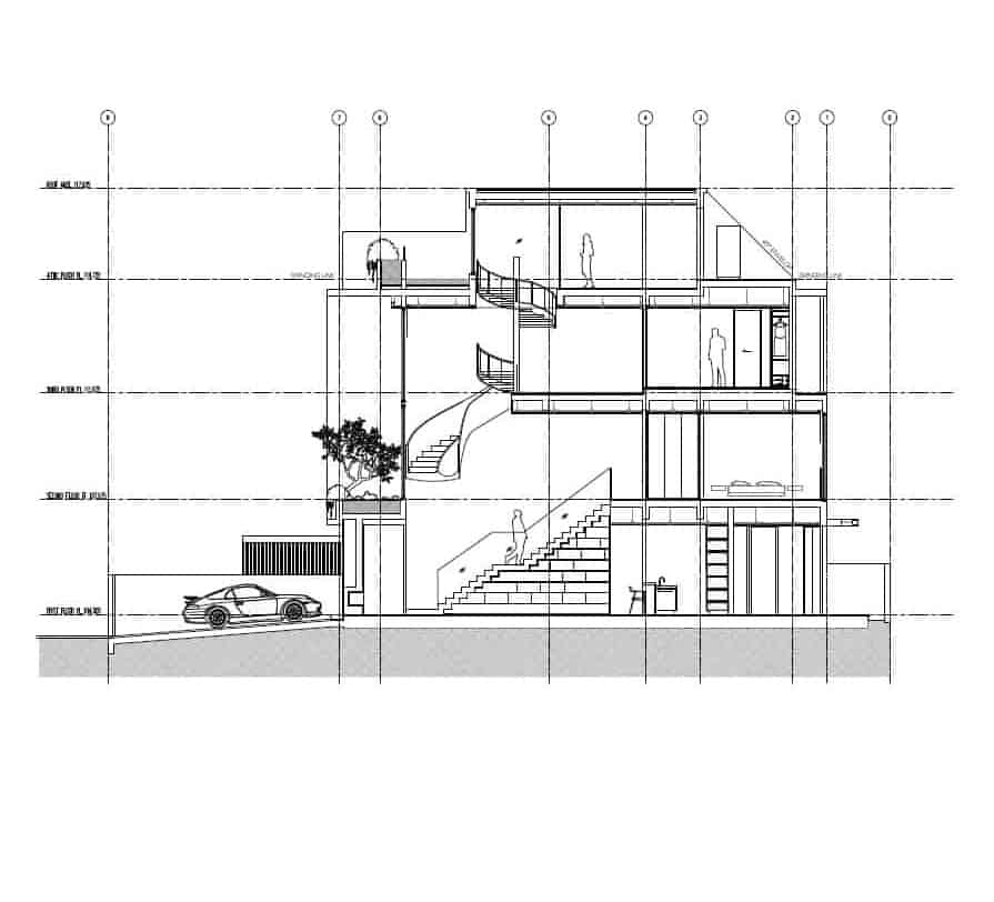 This is the side elevation of the house with illustrations of people to compare sizes.